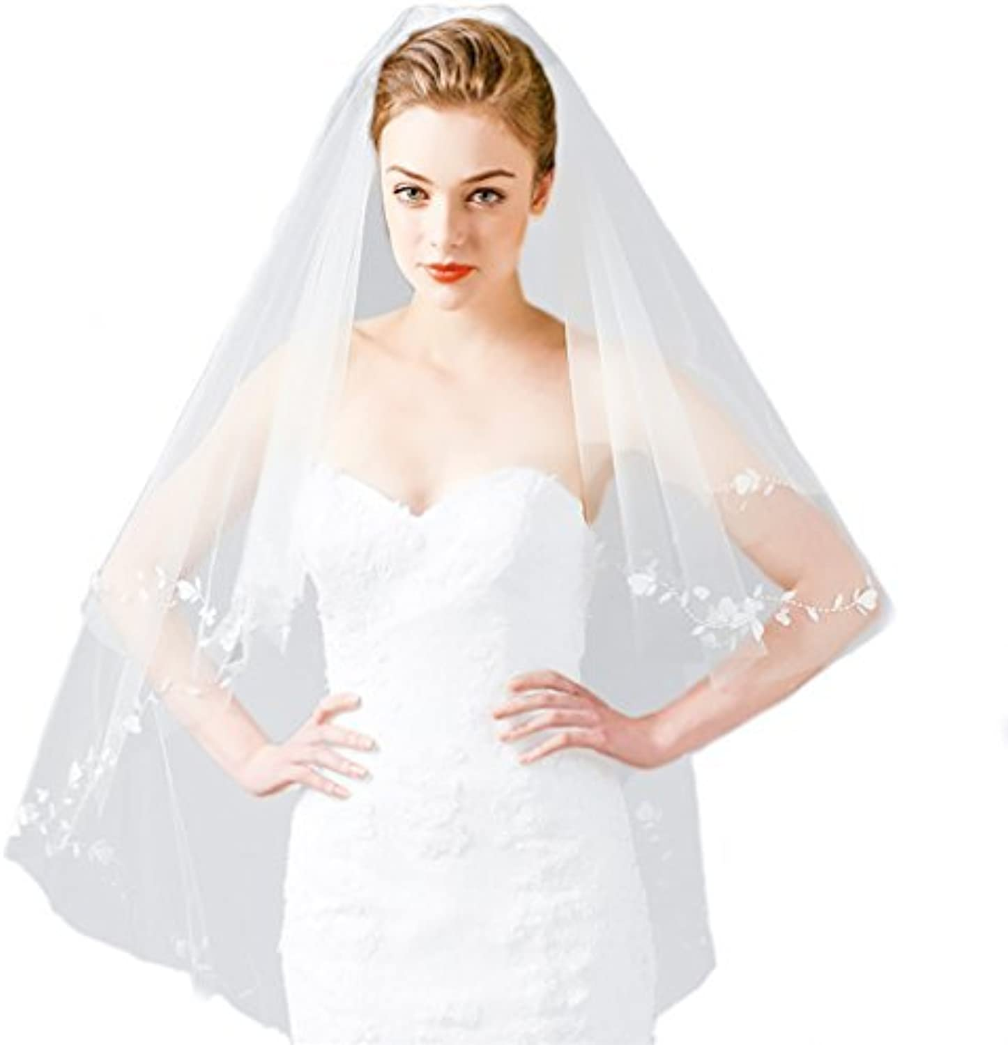 Cereoth rustic bridal veil ivory 2 Tiers fingertip with white lace