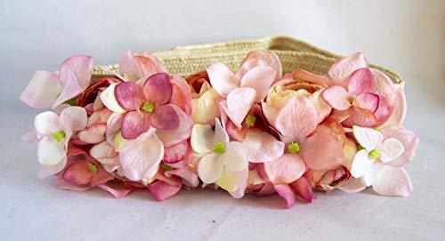 Cinturón elástico de rafia con adorno de flores rosas. Envío GRATIS 72h