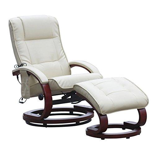 Mendler Massage-Fernsehsessel Pescatori II, Relaxsessel Massagesessel, Massagefunktion - weiß/Creme
