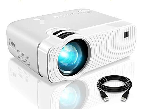 Mini proyector, ELEPHAS portatil Proyector 5000 Lux Proyector de Cine en casa LED de Larga duración 1080P Compatible, Compatible con PS4, PC a través de HDMI, VGA, TF, AV y USB