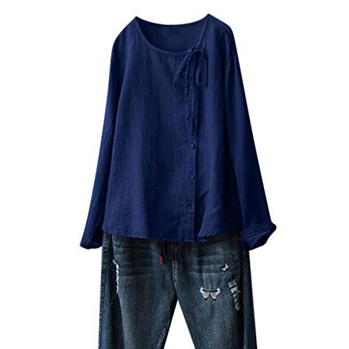 LOPILY Damen Tunika Sommer Herbst Große Größen Leinen Bluse Bandagen Casual Damen Oberteil Langarm Shirt 3/4 Arm Damen Einfarbiges Leinen Tops Übergrößen (Blau, DE-48/CN-3XL)
