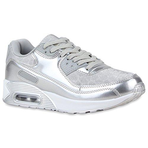 stiefelparadies Trendige Unisex Lauf Damen Herren Kinder Sport Glitzer Camouflage Sneaker Bunt Schnür Sport Schuhe 117413 Total Silber 36 Flandell