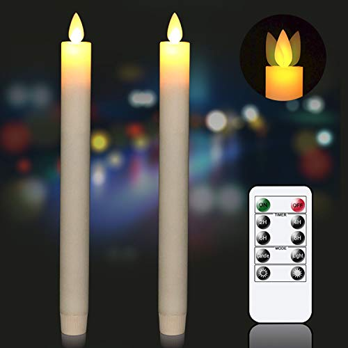 Eldnacele Flameless Flickering Moving Wick Taper Candles with Timer Remote Battery Operated Ivory Real Wax Set of 2(D 0.78''xH 9.5'') for Wedding Anniversary Dinner Party Christmas Home Decor