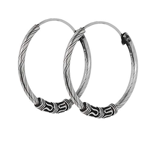 NKlaus par de plata de ley 925 Celtic Bali pendientes aros 20mm 6970