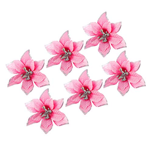 NUOBESTY 24pcs Glitter Poinsettia Christmas Tree Ornaments Artificial Poinsettia Flower for Christmas Decorations Pink