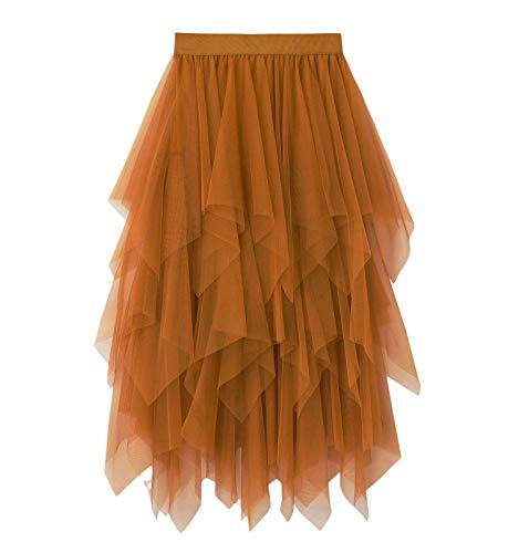 Nensiche Falda de Tul para Mujer Falda de Cintura Media Alta Falda Plisada Midi Falda Irregular (Khaki, One Size)