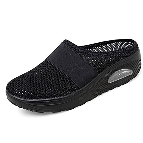 ergou Zapatillas de senderismo para mujer, transpirables, con soporte de arco para exteriores, de punto, informales, ortopédicas, para diabéticos (negro, 8.5)