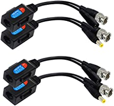 zdyCGTime Balun HD Cat5 RJ45 to BNC Video Baluns transceiver Passive with Power Connector for 720P 1080P 3MP 4MP 5MP 8MP HD-CVI/TVI/AHD/CVBS/960H Camera(2 Pairs)