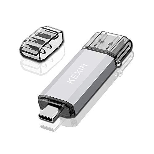 KEXIN Dual USB Stick 64GB OTG Speicherstick 2-in-1 USB C Stick Flash Drive USB 3.0 Memory Stick USB Typ C Stick Pen Drive USB Flash Laufwerk für PC Laptop Notebook USB-C Handy Silber