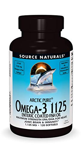 Source Naturals ArcticPure Omega-3 Fish Oil 1125mg Ultra Potency EPA + DHA for Heart, Joint, Brain & Immune Health -Enteric Coated for Sensitive Stomachs - 120 Softgels