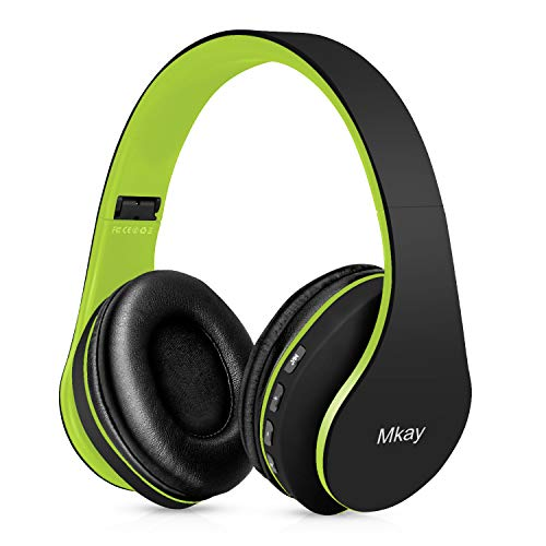 Bluetooth Headphones Wireless,MKay Over Ear Headset V5.0 with Microphone, Foldable & Lightweight, Support Tf Card MP3 Mode and Fm Radio for Cellphones Laptop TV(Black-Green)