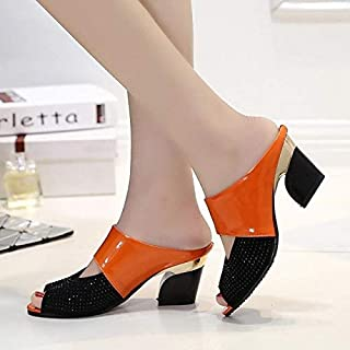 Women Sandals Square Heel Summer Shoes Woman Slides Cut-out Open Toe Slip On Mothers Sandals Female Bling Slippers Female Outdoor Slipper (Color : Orange, Shoe Size : 36)