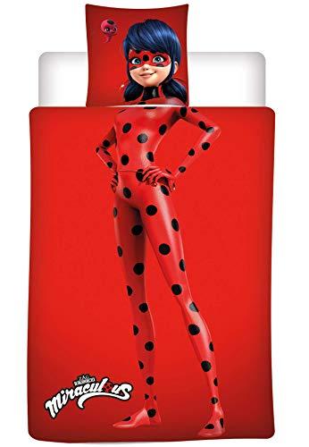 AYMAX S.P.R.L. Ladybug Miraculous - Juego de cama de franela con funda nórdica de 140 x 200 cm y...