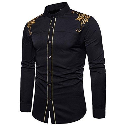 Herren Bestickte Freizeit Langarm Hemd Shirt(S,schwarz)