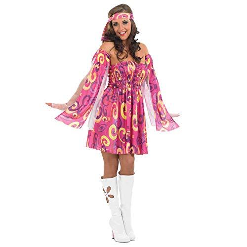 Fun Shack Rosa 70er Jahre Kostüm für Damen, Hippie Kleid 60er Jahre - M