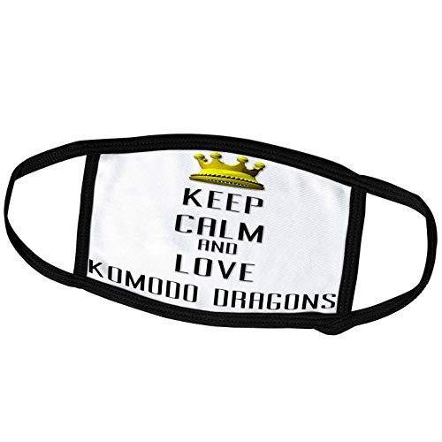 3dRose Blonde Designs Gold Crown for Keep Calm Love Animals - Gold Crown Keep Calm and Love Komodo Dragons - Face Masks (fm_121161_2)
