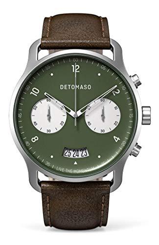 DETOMASO SORPASSO - Reloj de pulsera analógico con cronógrafo, bicolor verde, movimiento de cuarzo, correa de piel italiana, color marrón oscuro
