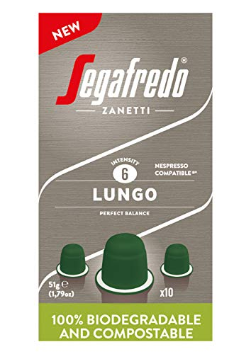 Segafredo Zanetti 10 kompostierbare Nespresso Lungo-Kapseln, reichhaltig und cremig - 1 Packung mit 10 Kapseln, 51 g