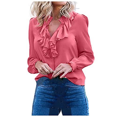 Blusas para Mujer de Manga Larga con Botones Camisetas Mujer Volante Color Sólido Elegantes Camisas Mujer de...