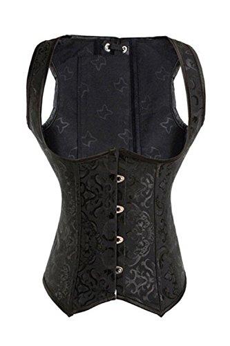 KIWI RATA Women's Steel Boned Vintage Corset Steampunk Gothic Bustier Waist Cincher Vest (3XL, Underbust Black)