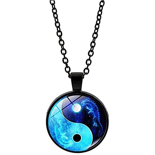 gujiu Yin Yang Collar Tai Chi Unisex Tiempo Piedra Cabochon Vidrio Colgante Dragón Luna Yin Yang Joyería Longitud 50 cm