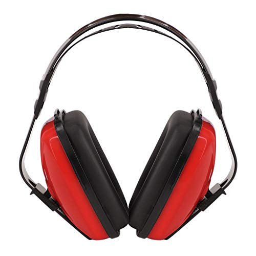 Soundproof Earmuffs for Adults Children Noise Canceling Hearing Protection Headphones Adjustable Padded Defender Noise Reduction Prevention Ear Protection Safety Earmuff Ear Protector Earplug (Red)