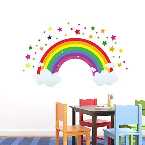onetoze Vinilos Infantiles Arcoíris Pegatinas de Pared Nubes Vinilos Adhesivos Pared Extraíble Estrellas Dormitorio Salón Guardería Habitación Infantiles Niños Bebés, 118x72cm (ancho x alto)