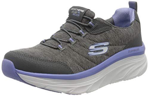 Skechers Damen D'lux Walker Sneaker, Grau (Charcoal Mesh/Duraleather/Purple Trim Ccpr), 40 EU