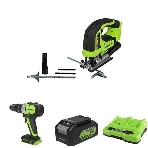 Greenworks Tools 3601407 Sierra de calar sin Cable GD24JS + Taladro/Atornillador GD24DD65 + Batería G24B4 2ª generación + Batería de doble ranura Cargador universal G24X2C