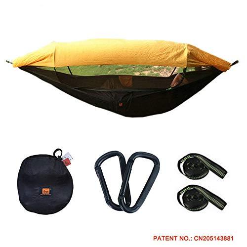 BCAV Hängematten Moskito Netz Camping Hängematte Tragbare Outdoor-Camping-Hängematte Mit Markisen-Moskitonetz Hochfester Fallschirm Stoff Hängebett Jagd Schaukel-290 X 145 cm-I