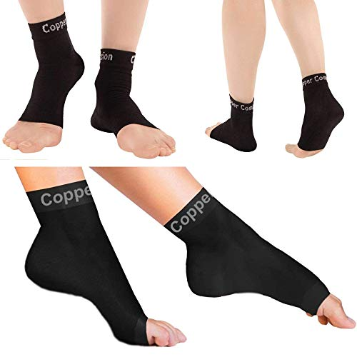 Copper Compression Recovery Foot Sleeves / Plantar Fasciitis Support Socks - GUARANTEED To Speed Up Recovery & Provide Relief Of Heel Spurs, Arch Pain, Foot Swelling & Ankle Injuries 1 PAIR, Medium