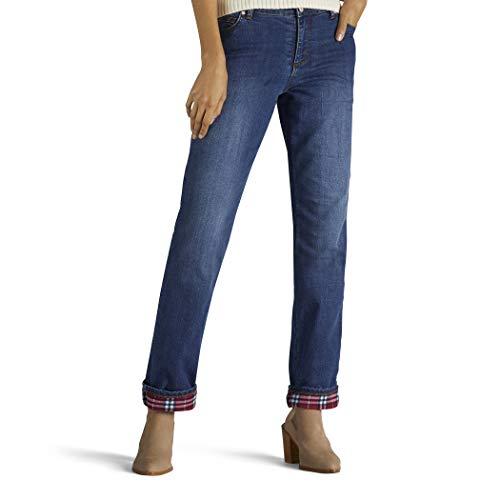 LEE Women's Fleece Lined Relaxed Straight Leg Jean, relic, 14