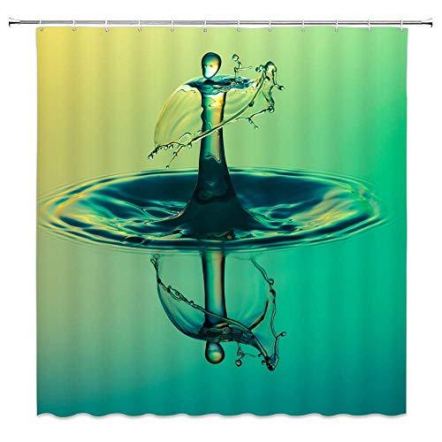 N\A Kreative Wassertropfen Dekor Duschvorhang Mann Bild Wassertropfen Schatten Gelbgrün Ombre Stoff Badezimmer Gardinen Wasserdichtes Polyester mit Haken