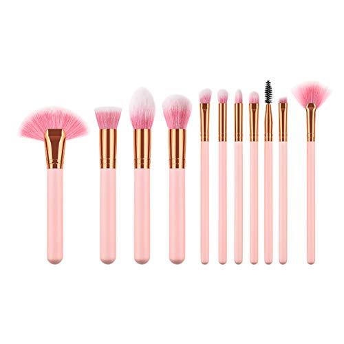 Drawihi Pinceaux Maquillages Premium Coloré Fondation Mélange Blush Yeux Visage Poudre Brosse Cosmétiques 11Pcs (Or rose)
