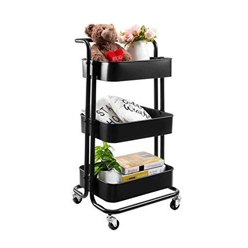 XCCX Trolley De Almacenamiento De 3 Niveles, con Canasta De Malla, Mango Y Ruedas Giratorias, Estantes Móviles para Baño, Cocina, Organizador De Almacenamiento De Oficinas