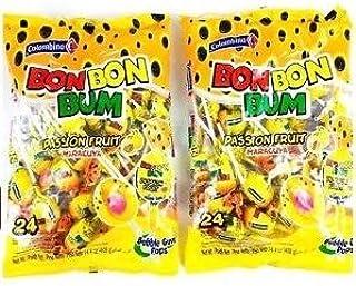 Colombina Bon Bon Bum Lollipops Passion Fruit 24 Lollipops per Bag 2 Pack