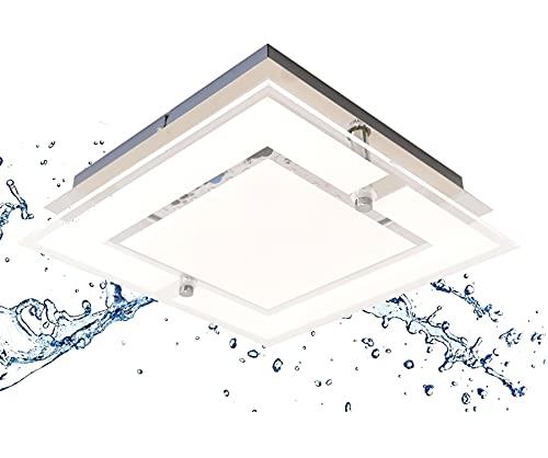 Trango 3103 IP44 Feuchtraum LED Deckenleuchte Eckig *IVY* aus Metall mit Design Motive bedrückt Glas Lampenschirm, in 3-Stufen dimmbar Badezimmer Deckenlampe, Wandleuchte, 12 Watt warmweiß LED Modul