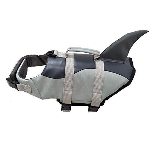 Chaleco salvavidas para perros Chaleco de natación para mascotas, chaleco salvavidas, salvavidas, salvavidas, salvavidas, salvavidas para perros, con flotabilidad y mango de rescate (L, gris1)
