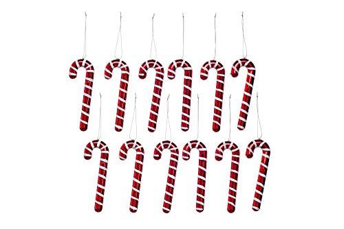Heitmann Deco Christbaum - Schmuck - Zuckerstangen - 12er Set - Weihnachtskugeln - rot,weiß - ca. 12 x 4 x 1,5 cm