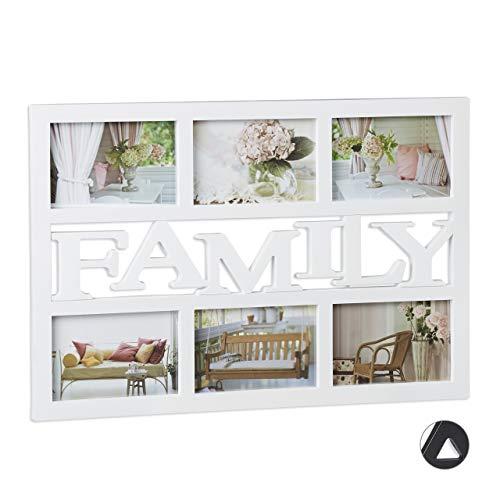 Relaxdays Bilderrahmen Family, Fotorahmen 6 Bilder, Fotocollage selbst gestalten, mehrere Fotos, H x B: 33 x 48 cm, weiß