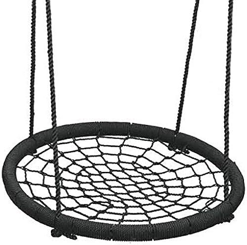 Kinderschaukel Vogelnest Schaukel Indoor Outdoor Schaukel Schaukel Runde PE Weben Kindergarten Baby Kinderstuhl Schaukelstuhl (Farbe   schwarz)