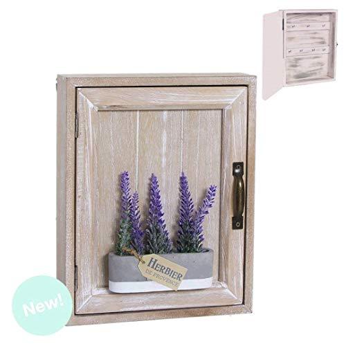 Dream Hogar Caja Colgador de Llaves cuelgallaves con Puerta Madera Lavanda 20x25x7 cm