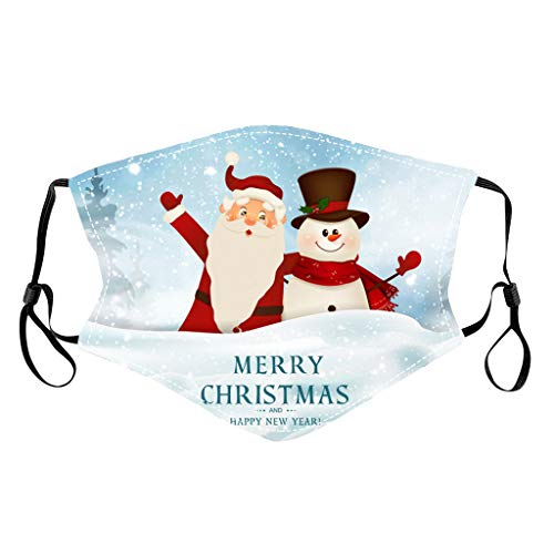 Adult Face Mask Washable Reusable, Candle Snowman Sleigh SantaClaus Mask Anti Dust Wind Multifunctional Riding Fishing