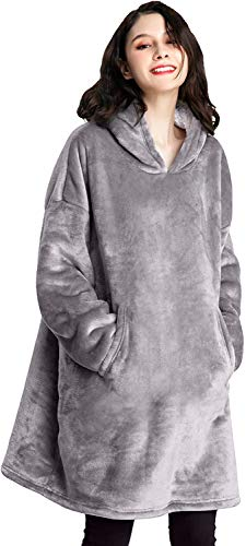 VASLON Wearable Blanket,Hoodie Blanket Sweatshirt,Wearable Fleece & Sherpa Blanket Sweatshirt with Hood, Super Soft Warm Cozy Throw for Men and...