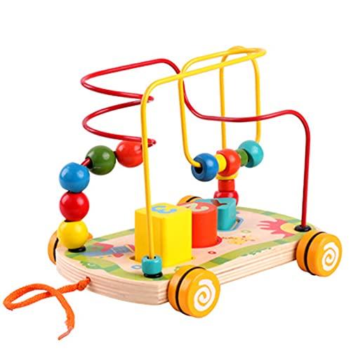 Bead Maze Pull Tirón de Madera Pull Toy Roller Roller Roster Time Education Toys Baby Beads Beaded e Intellectual Desarrollo Regalos para niños y niñas