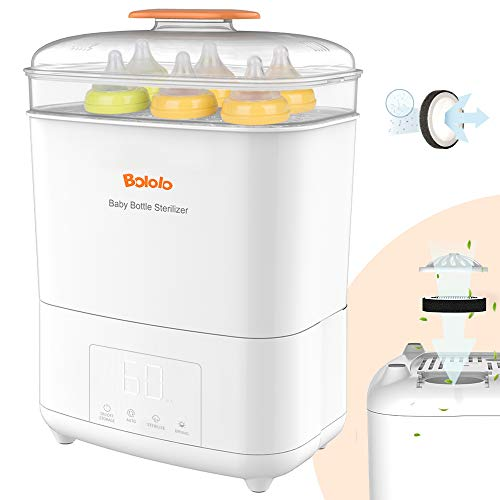 Bololo Baby Bottle Electric Steam Sterilizer and Dryer with LED Panel Touch Screen, Drying time Control and only Drying Function, HEPA Filter Inside,Fit for 9-Ounce Bottle and Breast Pump Parts