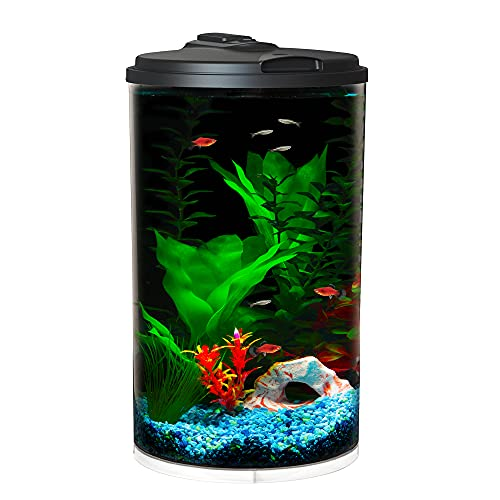 Koller Products 6-Gallon AquaView 360 Aquarium Kit with LED Lighting and Power Filter Clear