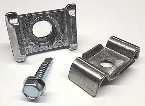 20x Aluminium Auflagebock + Klemmlasche+ Bohrschraube Halterung Zaunzubehör Zaunpfosten Zubehör Zaun Pfostenzubehör Befestigung Zaun