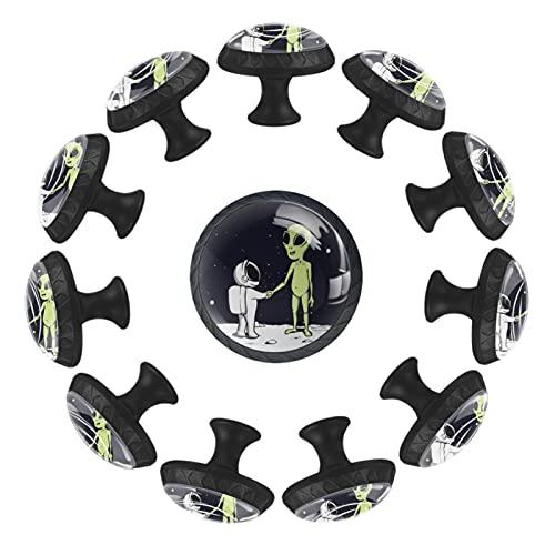 Space Astronaut Aliens - Lote de 12 pomos redondos para cajones (35...