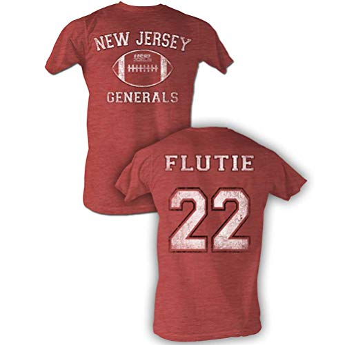A&E Designs USFL T-Shirt NJ Generals Flutie Red Heather Tee Front & Back, XL